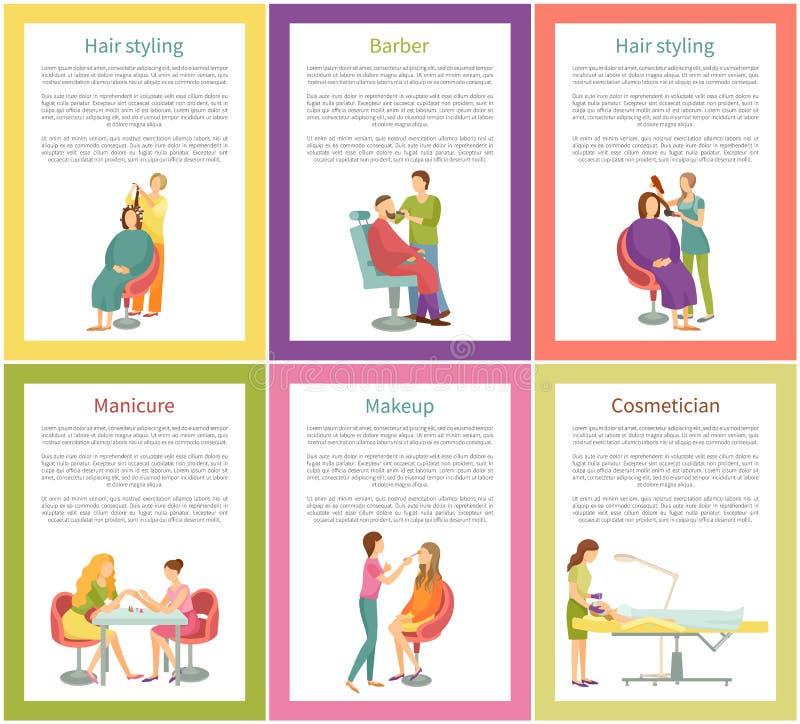 Dénommer et manucure Client Posters Vector de cheveux illustration de vecteur