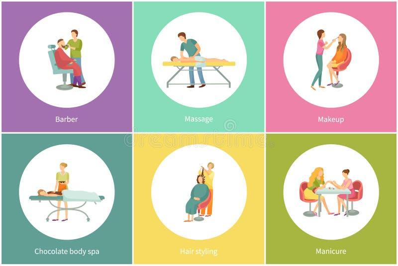 Dénommer et massage de cheveux par vecteur d'ensemble de masseur illustration libre de droits