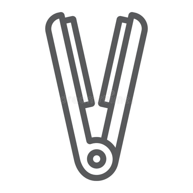 Dénommer la ligne icône de fer, la coiffure et l'appareil, signe de redresseur de cheveux, graphiques de vecteur, un modèle linéa illustration libre de droits