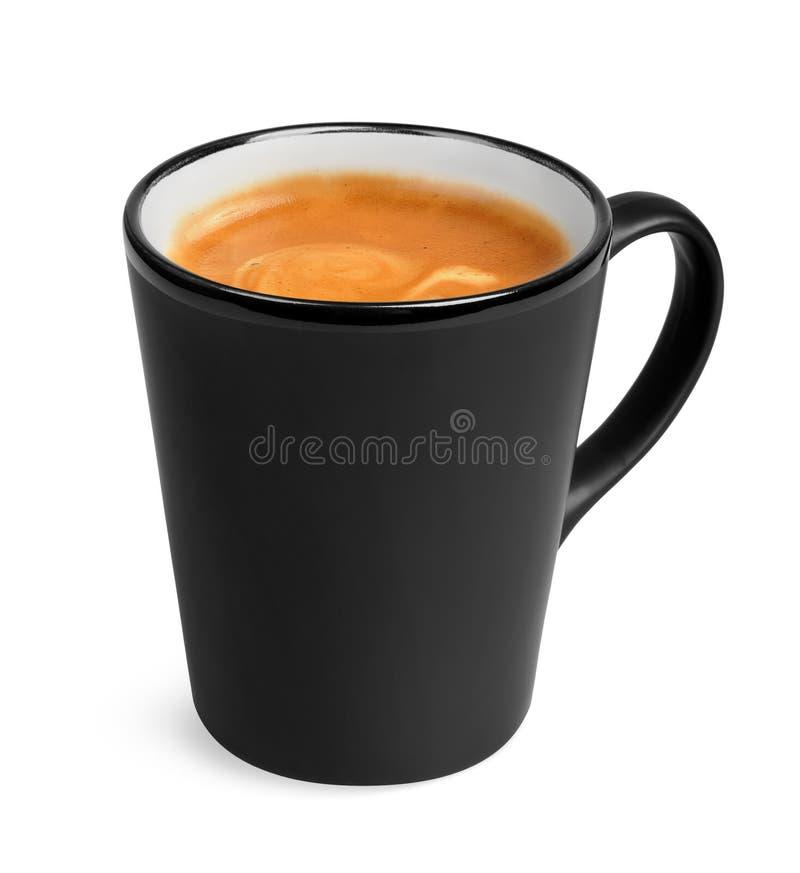 Dénommez la grande cuvette noire de café de café express d'isolement image stock