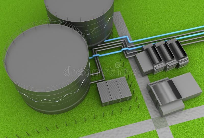 Dép40t de pétrole et de produit chimique et réservoirs de stockage illustration libre de droits