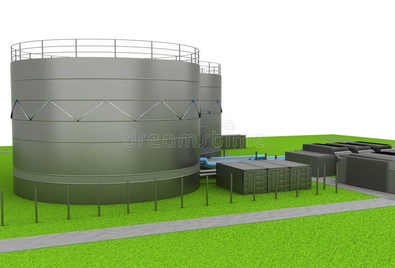Dép40t de pétrole et de produit chimique et réservoirs de stockage illustration stock