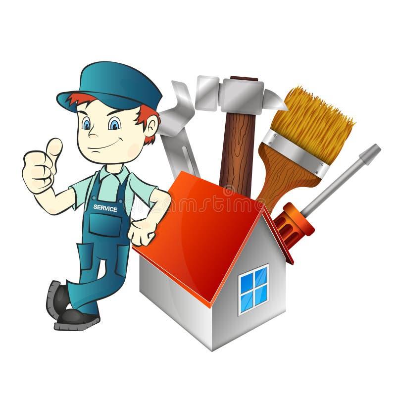 Dépanneur à la maison avec un outil illustration de vecteur