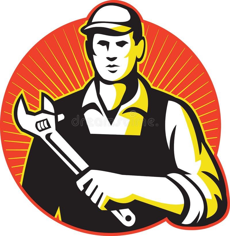 Dépanneur With Adjustable Wrench de mécanicien rétro illustration stock
