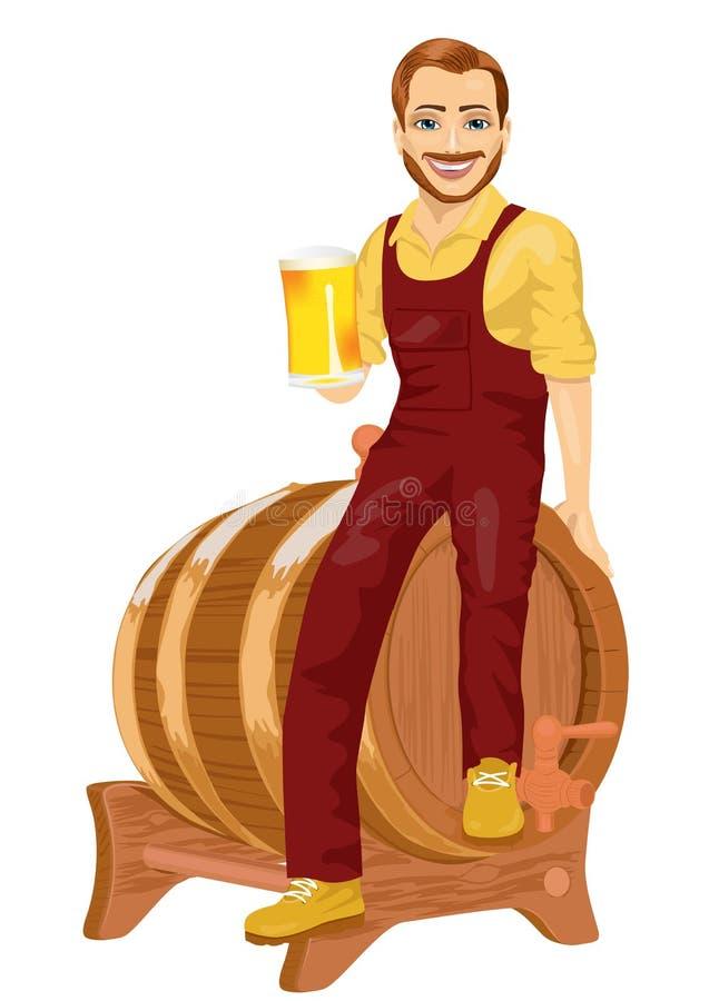 Dépanneur ou travailleur de la construction s'asseyant sur le baril en bois tenant la tasse de bière illustration stock