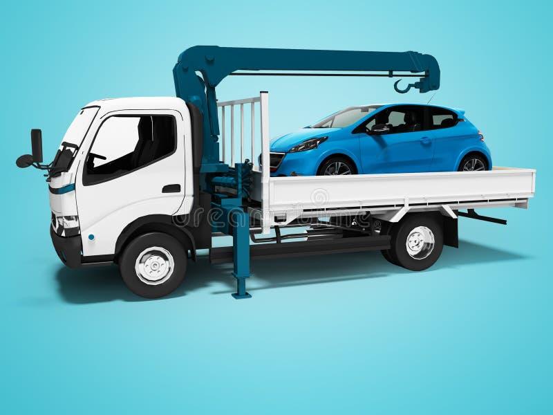 Dépanneuse blanche moderne avec la grue bleue avec la voiture chargée dans la remorque 3d rendre sur le fond bleu avec l'ombre illustration stock
