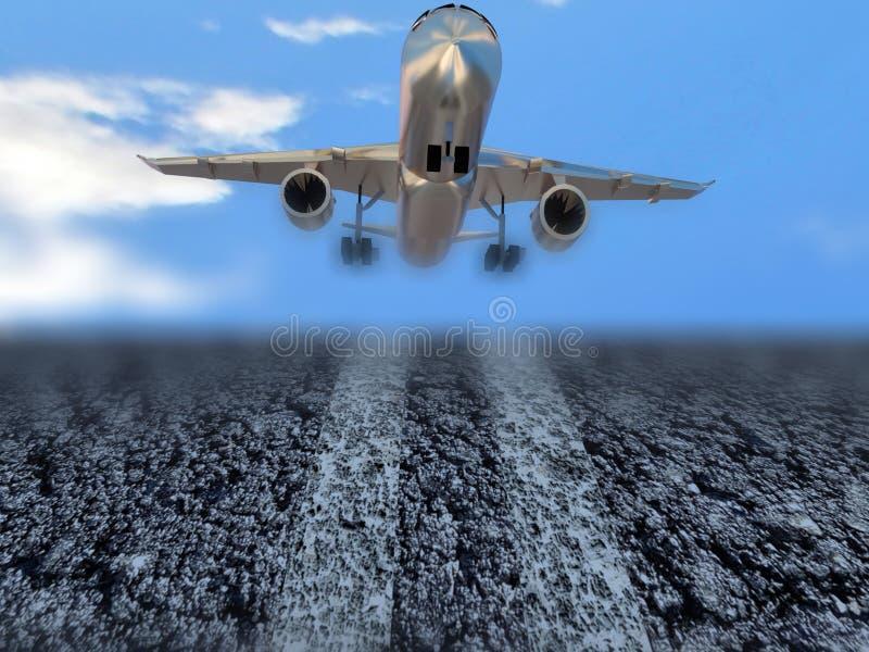 Départ de décollage d'avion d'Aiplane - rendu 3d illustration stock