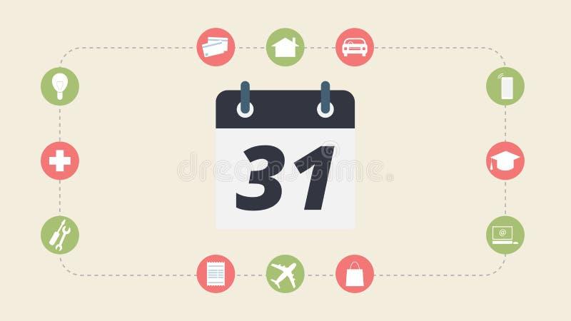 Dépenses et paiement mensuels, illustration plate de conception photo stock