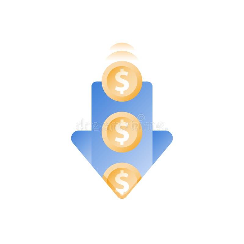 Dépenses financières, pièces de monnaie en baisse en trou, perte de finances, gaspillant l'argent, concept coûté submergé, augmen illustration stock
