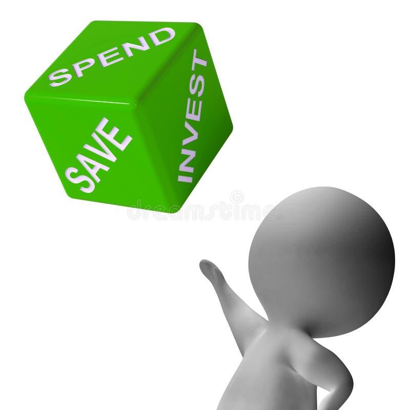 Dépensez investissent ou sauvent la budgétisation d'expositions de matrices illustration libre de droits