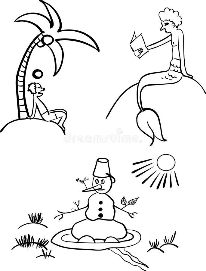 Dépensez l'illustration d'été pour livre de coloriage illustration stock