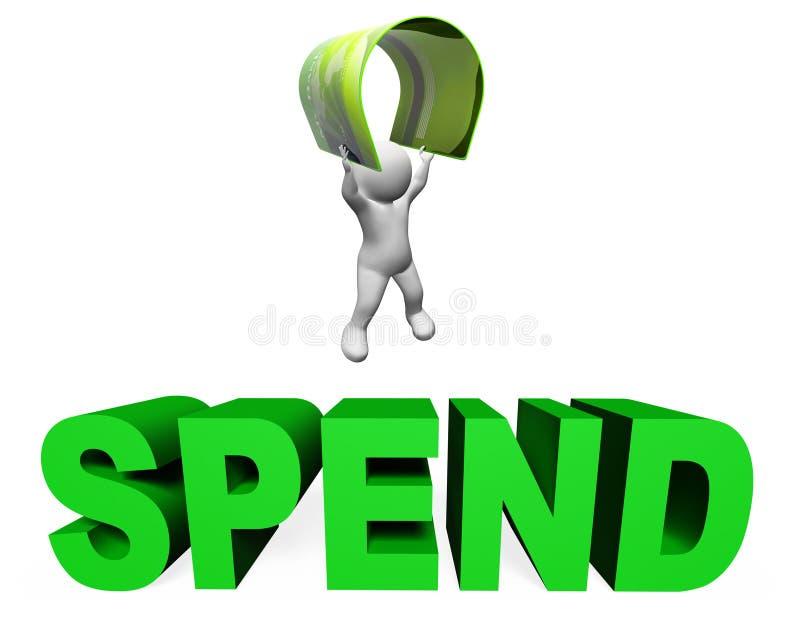 Dépensez l'illustration d'expositions de carte de crédit dépensant et achetant le rendu 3d illustration stock