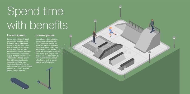 Dépensez la bannière de parc de patin de temps, style isométrique illustration stock