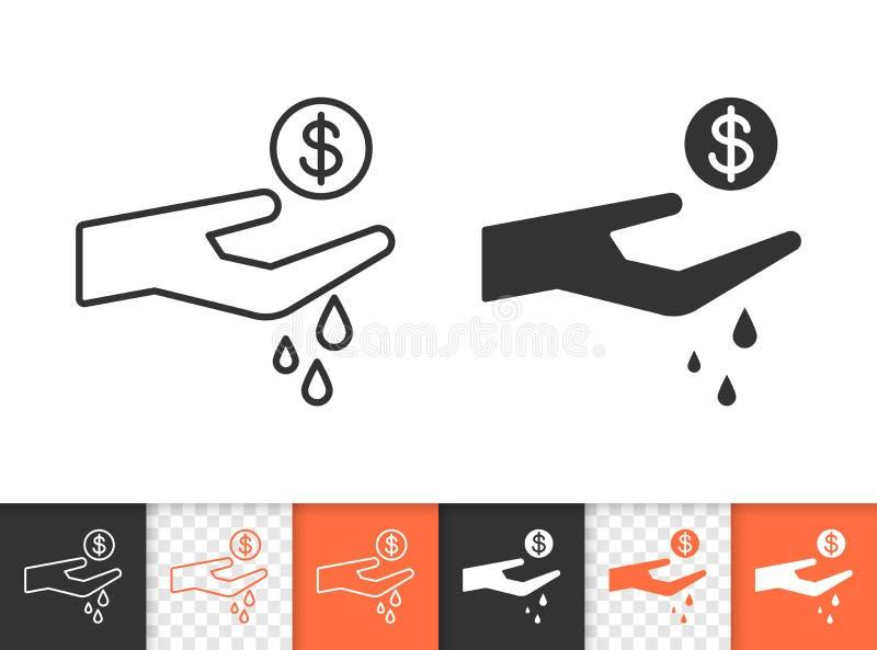 Dépensez la ligne noire simple icône de vecteur illustration stock