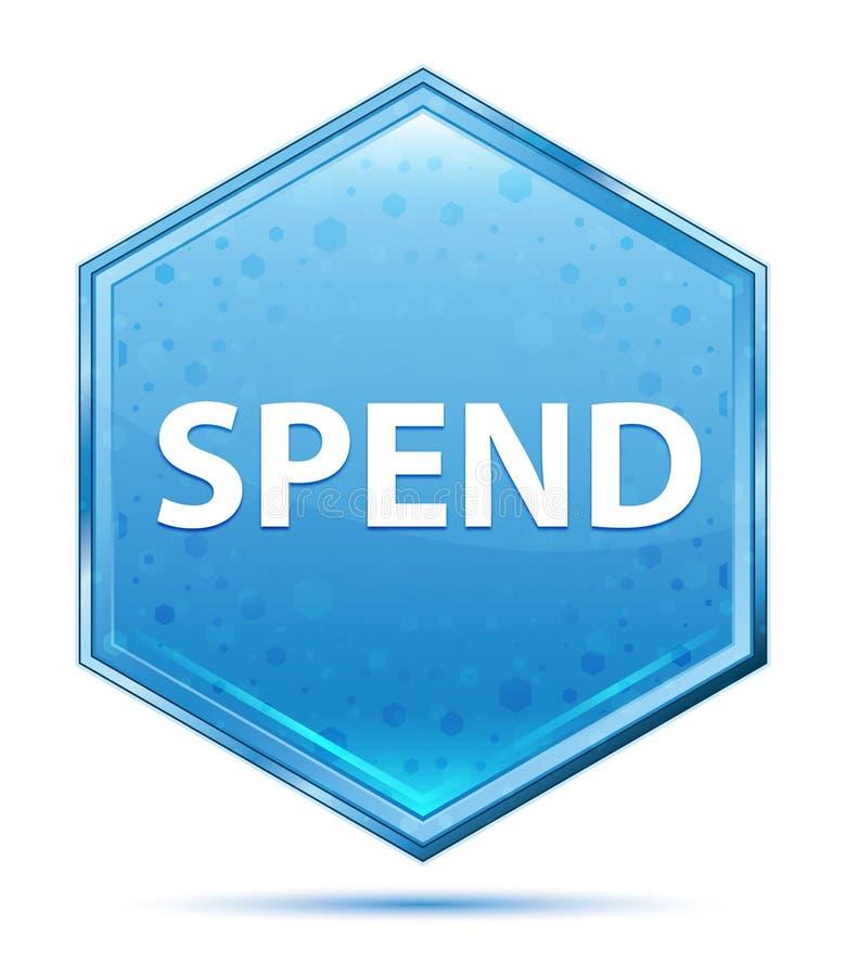 Dépensez le bouton bleu en cristal d'hexagone illustration libre de droits