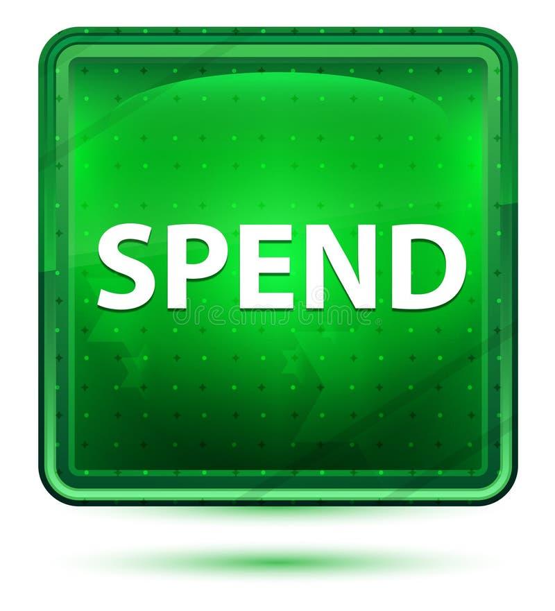 Dépensez le bouton carré vert clair au néon illustration stock