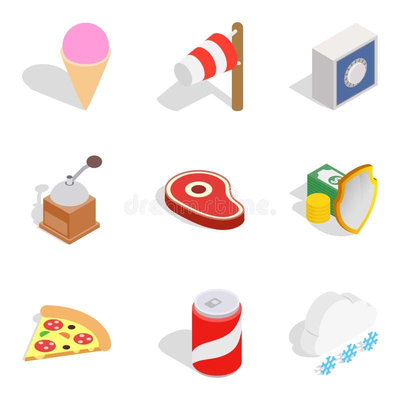 Dépensez les icônes d'hiver réglées, style isométrique illustration stock