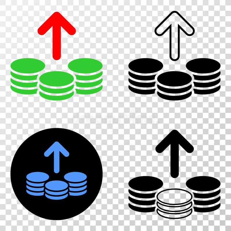 Dépensez les pièces de monnaie dirigent l'icône d'ENV avec la version de découpe illustration stock