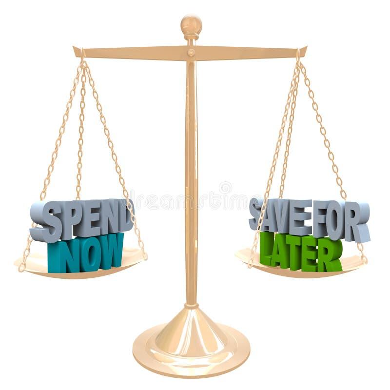 Dépensez maintenant contre des économies pour un plus défunt argent de budget d'équilibre illustration libre de droits