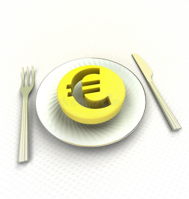 Dépensez votre euro pièce de monnaie pour le repas rendent illustration stock