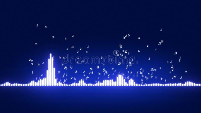 Déplacement audio de barres d'égaliseur Niveaux de contrôle de musique Notes musicales partant de l'égaliseur illustration de vecteur