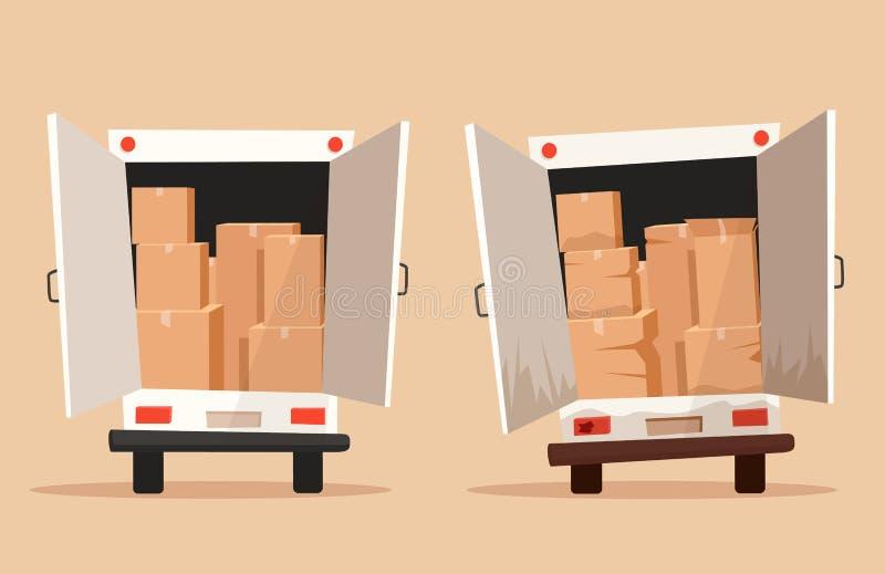 Déplacement avec des boîtes Entreprise de transport Illustration de vecteur de dessin animé illustration libre de droits