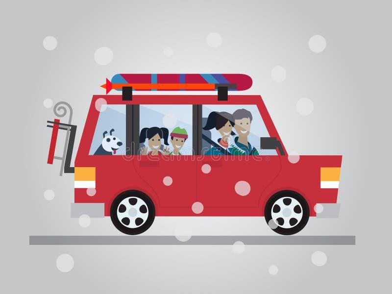 Déplacement d'hiver de famille Course en le véhicule Illustration plate de vecteur de conception illustration libre de droits