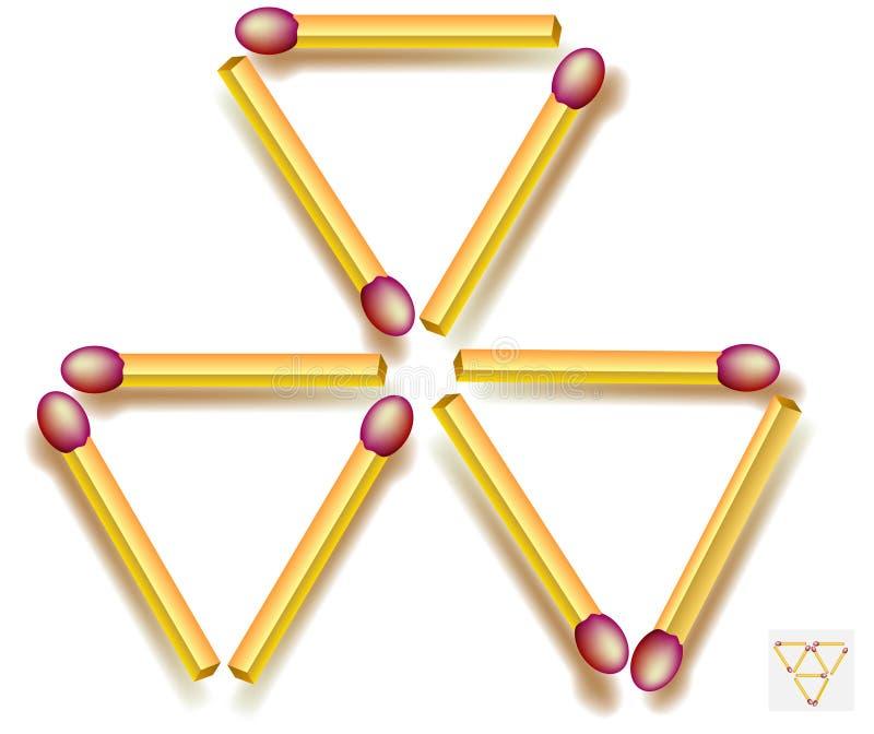 Déplacez trois allumettes pour faire cinq triangles Jeu de puzzle de logique illustration de vecteur