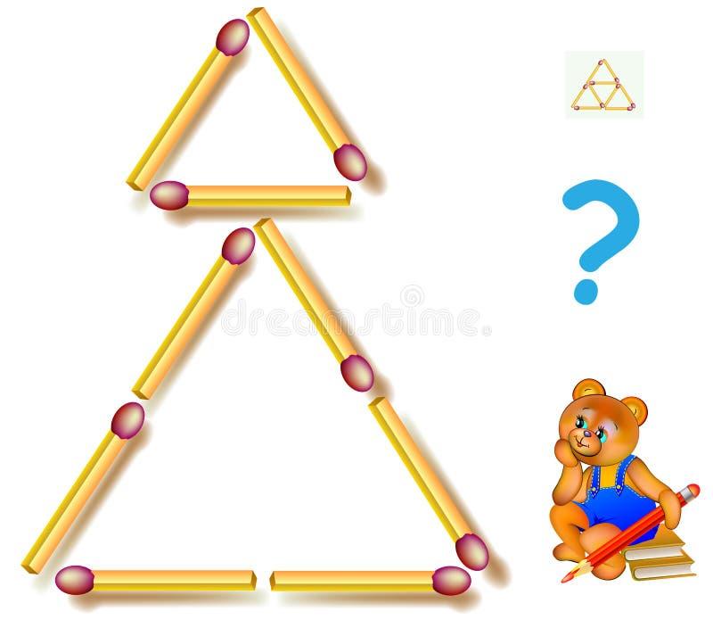 Déplacez trois allumettes pour faire cinq triangles Jeu de puzzle de logique illustration libre de droits