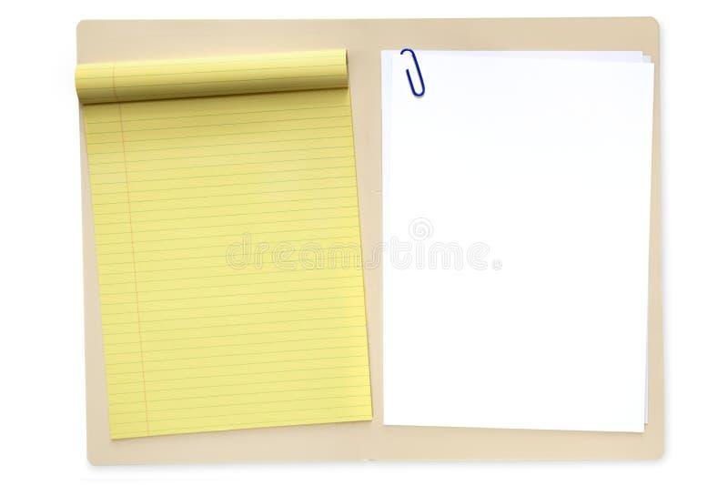 Dépliant de fichier avec le bloc-notes et le papier photographie stock