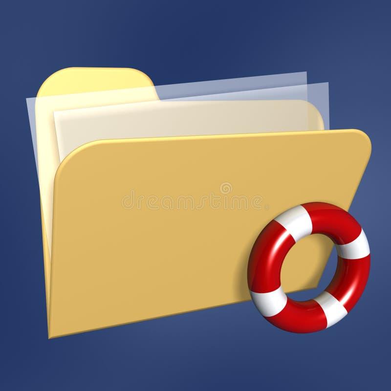 Dépliant de fichiers et lifebuoy illustration stock