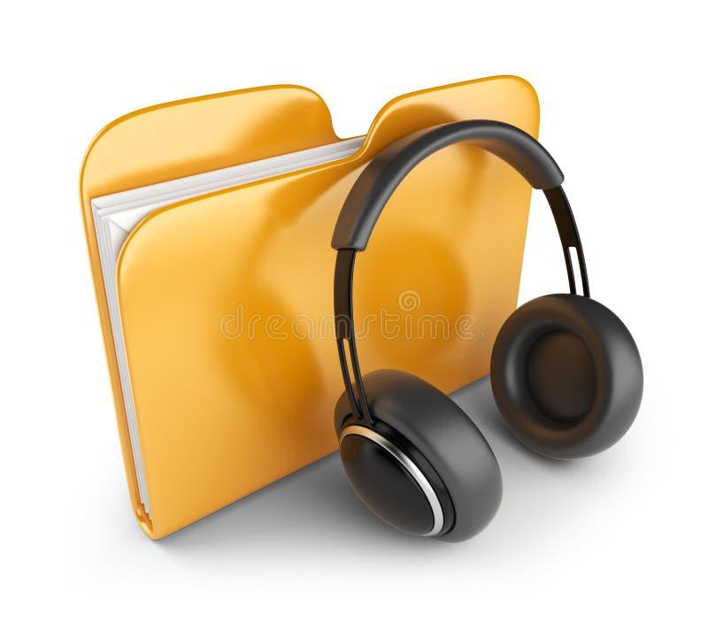 Dépliant sonore avec des écouteurs. 3D   illustration stock