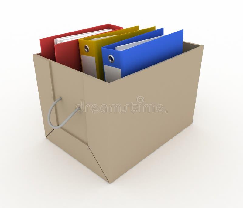 Dépliants de bureau dans la boîte en carton illustration libre de droits