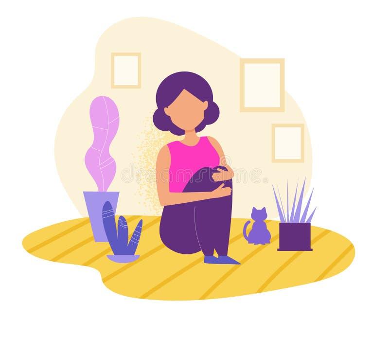 Dépression, apathie, concept Fille seul s'asseyant avec le vecteur de chat cartoon Art d'isolement sur le fond blanc illustration libre de droits