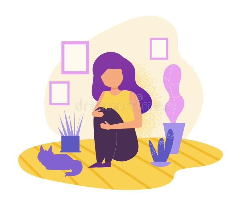 Dépression, apathie, concept Fille seul s'asseyant avec le vecteur de chat cartoon Art d'isolement sur le fond blanc illustration stock