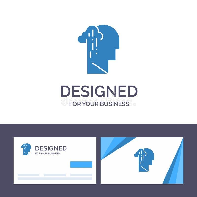 Dépression de visite de calibre créatif de carte de visite professionnelle et de logo, peine, illustration humaine, mélancolique, illustration de vecteur
