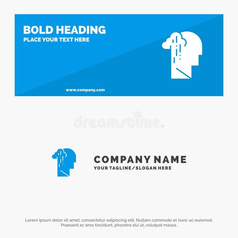 Dépression, peine, bannière solide humaine, mélancolique, triste et affaires Logo Template de site Web d'icône illustration stock