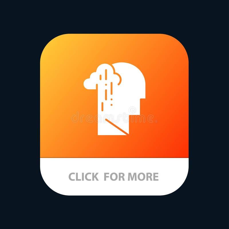 Dépression, peine, bouton mobile humain, mélancolique, triste d'appli Android et version de Glyph d'IOS illustration stock