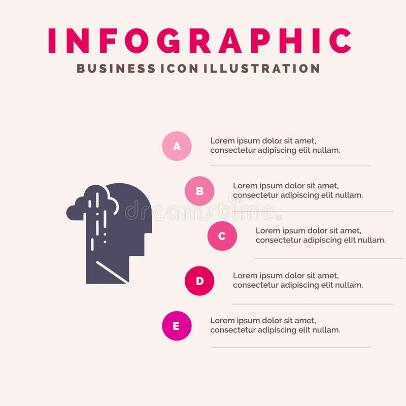 Dépression, peine, fond solide humain, mélancolique, triste de présentation d'étapes d'Infographics 5 d'icône illustration stock