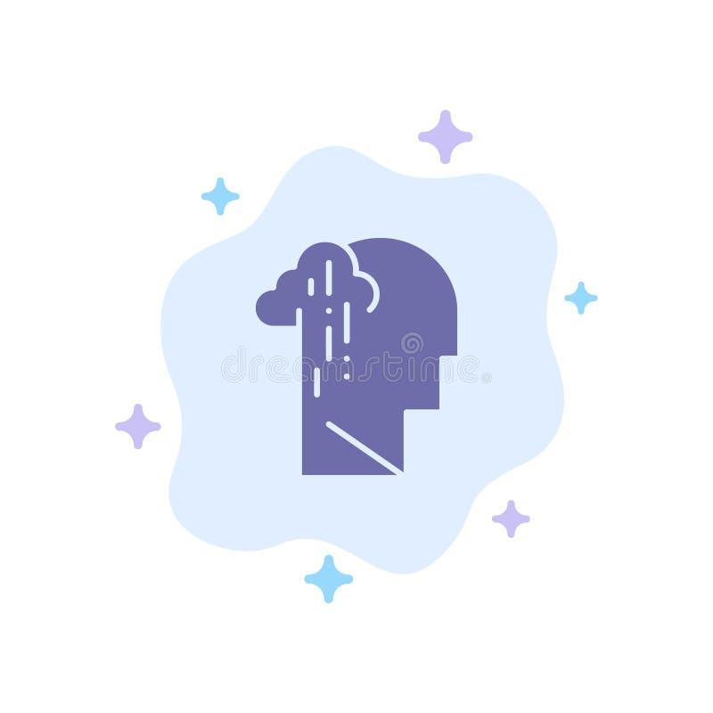 Dépression, peine, icône bleue humaine, mélancolique, triste sur le fond abstrait de nuage illustration de vecteur