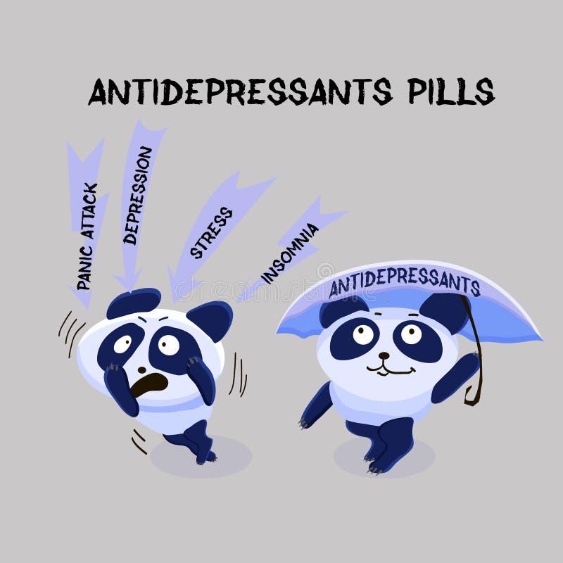 dépression Pilules d'antidépresseur Problème de santé mentale PA deux illustration de vecteur