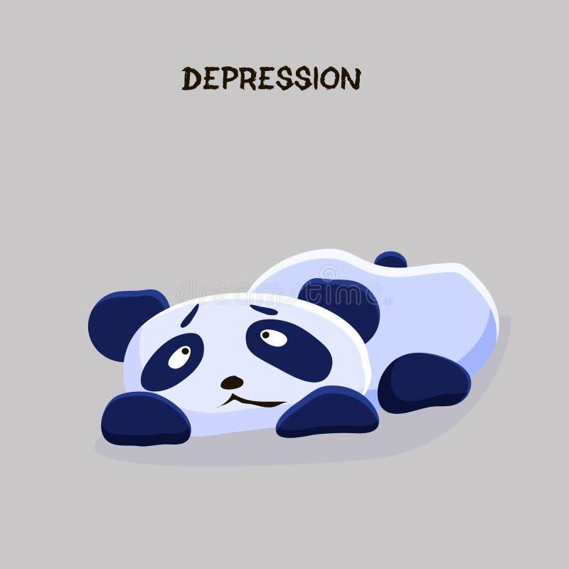 dépression Problème de santé mentale Sentiment déprimé menteur de panda illustration stock