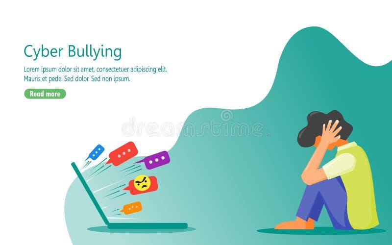 Déprimé en raison de l'abus verbal des internautes illustration stock