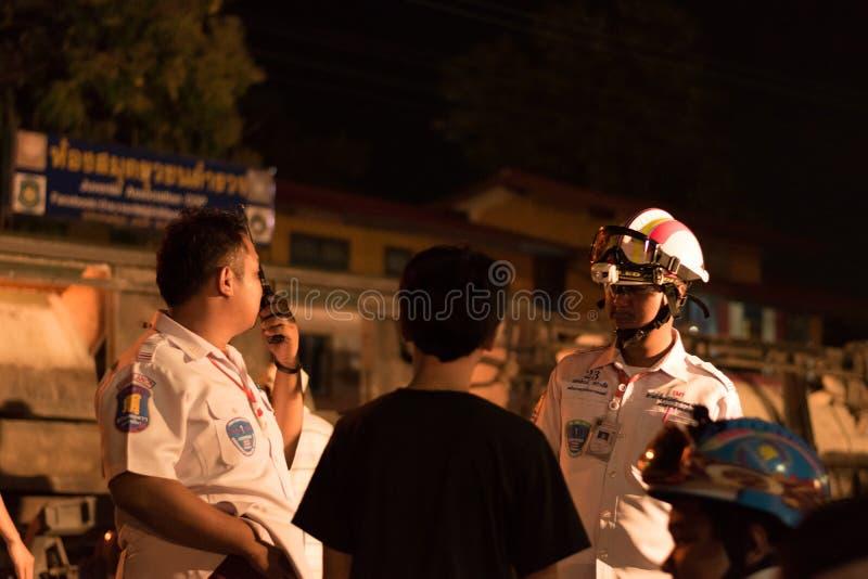 Déraillement de train dans Nakhon Ratchasima, Thaïlande 10/7/2017 image stock