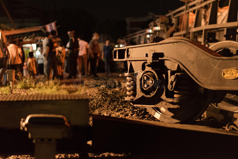 Déraillement de train dans Nakhon Ratchasima, Thaïlande 10/7/2017 photographie stock libre de droits