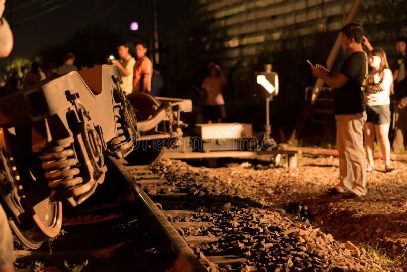 Déraillement de train dans Nakhon Ratchasima, Thaïlande 10/7/2017 images libres de droits