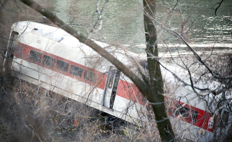 Déraillement de train du nord de métro dans le Bronx image libre de droits
