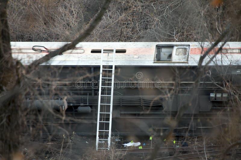 Déraillement de train du nord de métro dans le Bronx photos libres de droits