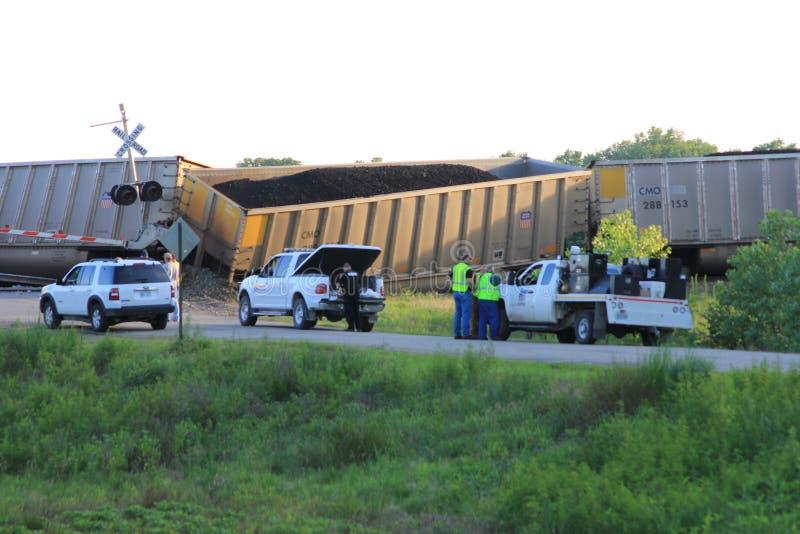 Déraillement de train près de Silverlake, le Kansas images libres de droits
