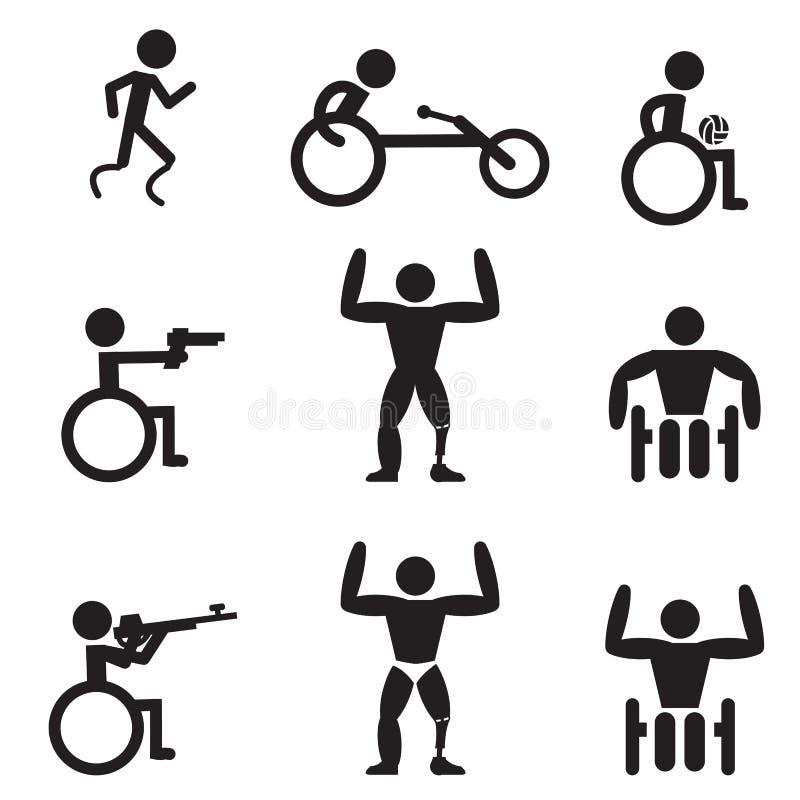 Désactivez les icônes de sport d'handicap, coureur, bodybuilding, tirant illustration stock